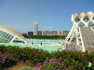Arts and Science City designed by Calatrava, Valencia, Spain